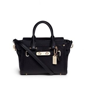 Coach Black Swagger 20 Pebbled Leather Purse